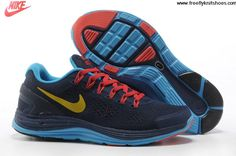 Latest Listing Mens Nike LunarGlide 4 Chicago Blue Crimson Gold Black White Shoes Running Shoes Shop