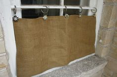 unique window treatment ideas using flowers Burlap Window Treatments, Unique Window Treatments, Burlap Valance, Curtain Ring, Magnetic Curtain, Curtains With Rings, Bathroom Ideas, Wednesday, Reusable Tote Bags