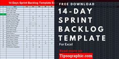 14 Day Sprint Backlog Template for Excel Free Download #ProjectManagementTemplates