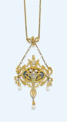 A BELLE EPOQUE DIAMOND-SET PENDANT -  Of oval outline, the central blue guilloché enamel panel with applied cloisonné enamel vase motif containing a spray of chased leaves and flowerheads, to the outer bow design frame, with circular and marquise-cut diamond highlights, suspending three pearl drops, to the belcher-link chain initially set with six pearls, to a further bow panel surmount, circa 1900