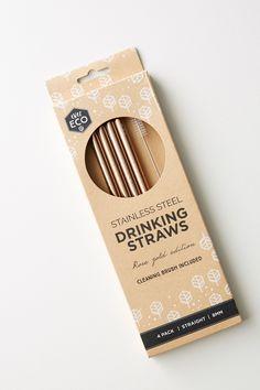 Slide View: 3: Ever Eco 4-Pack Rose Gold Straws
