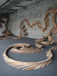 Barbara Holmes - untitled no. 5, installation @ 1045 Mision St. San Francisco CA., reclaimed wood lath, 2012