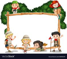 Frame template with kids in safari outfit vector image on VectorStock Cover Page Template Word, Frame Template, Templates, School Advertising, School Border, Boarders And Frames, Cute Borders, Shapes For Kids, Powerpoint Background Design