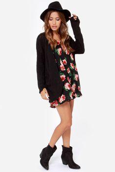 LULUS Exclusive How It Rose Black Floral Print Swing Dress at Lulus.com!