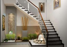 21 Inspiring Under Stairs Pebble Garden Ideas -Get the inspiration you need to plan your own indoor pebble garden for under your staircase. Interior Design Your Home, Interior Garden, Modern House Design, Under Staircase Ideas, Space Under Stairs, Under The Stairs, Interior Stairs, Apartment Interior, Interior Livingroom