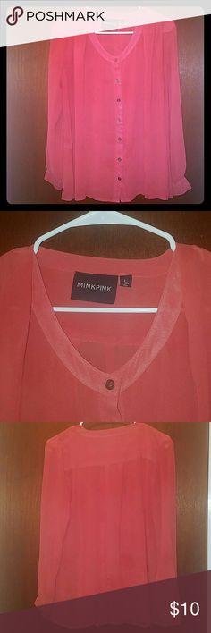 MINK PINK Burnt Orange Blouse Long sleeve burnt orange blouse by Mink Pink Excellent used condition. Pet and smoke free home MINKPINK Tops Blouses