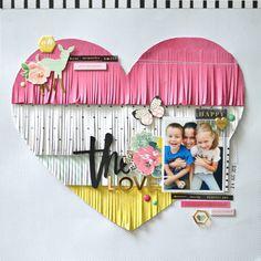 Fringe Heart scrapbook Layout by Flóra Mónika Farkas Scrapbook Expo, Paper Bag Scrapbook, Scrapbook Designs, Scrapbook Journal, Scrapbook Sketches, Scrapbook Page Layouts, Baby Scrapbook, Scrapbook Supplies, Scrapbook Cards