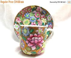 SPRING SALE Chinese Floral Cup/Saucer Tea Great by JewlsinBloom
