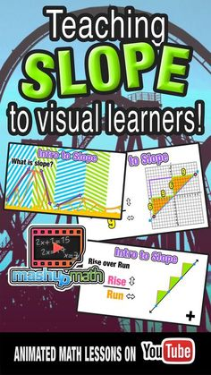 Check out our flipped classroom animated math lesson on finding and using slope! This lesson is perfect for students with a visual learning preference and is aligned with the common core learning standards for Algebra I. You can access all of our video le Algebra Activities, Maths Algebra, Math Resources, Numeracy, Math Worksheets, Visual Learning, Core Learning, Math Classroom, Flipped Classroom