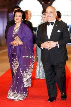 Prince El Hassan bin Talal of Jordan and Princess Sarvath El Hassan of Jordan attends a 2013 Royal-dinner hosted by Queen Beatrix of The Netherlands ahead of her abdication in Amsterdam