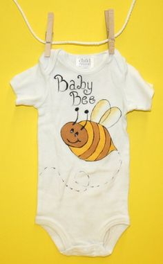 Hand Painted Infant Onesie - BB101 Baby Bee - Can BEE Personalized | UnbelievableGifts - Clothing on ArtFire