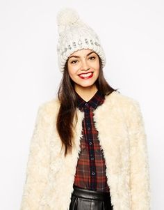 New Look Embellished Bobble Beanie Hat