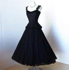 vintage 1950's dress ...most exquisite couture designer CEIL CHAPMAN black lace peplum full skirt cocktail party prom dress