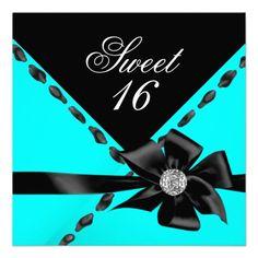 Sweet 16 Teal blue Bow Black Birthday Party Invitation Birthday invitations by zizzago.com