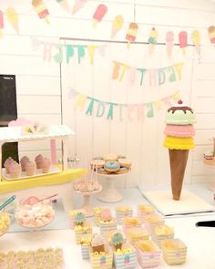 Party and sweets table from Pastel Ice Cream Party at Kara's Party Ideas. See more at karaspartyideas.com!