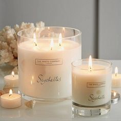 Pin for Later: Scented Candles Are the Ultimate Last-Minute Luxury Christmas Gift Bring the Smell of the Beach Indoors The White Company Seychelles (£20): smells of bergamot, orange, and amber. Bulk Candles, Large Candles, 3 Wick Candles, Soy Wax Candles, Candle Wax, Diy Candles, Scented Candles, Bathroom Candles, Candle Gifts