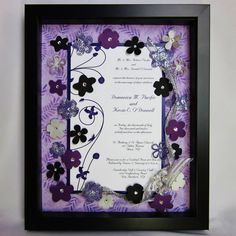 Preserve your invitation from your cherished day with a custom made Wedding Invitation Keepsake by Forever Cherish Design.  Your invitation will be displayed in a shadow box and embellished with Swarovski Crystal accented flowers.  Ribbon or accents from your wedding or reception can be incorporated.  A beautiful keepsake for yourself or a cherished friend.  Register this item on Etsy's wedding registry along with any other item found on Etsy!