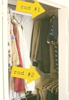 Hang closet rods in the sides of your closet to utilize dead space. | 25 Lifehacks For Your Tiny Closet