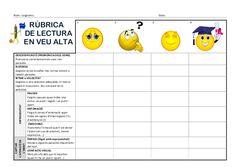 Rubrica Lectura en veu alta (CS) Más Bilingual Classroom, Self Assessment, Valencia, Trip Planning, Teaching Resources, Literacy, Language, Student, Messages