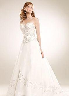 Beautifully beaded Matte  A line Strapless Wedding Dresses WG2311