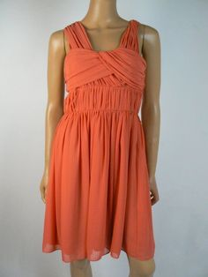 $138 BCBGeneration Orange Striped Chiffon Pleated Fit & Flare Dress 6 NEW B732 #BCBGeneration #FitFlareDress #PartyCocktail Chiffon Fabric, Fit Flare Dress, Bcbgeneration, Orange, Fitness, Color, Dresses, Fashion, Vestidos
