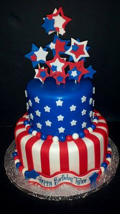 Of July Birthday Cake Pictures Fourth Of July Cakes, Fourth Of July Food, 4th Of July Celebration, 4th Of July Party, Patriotic Desserts, 4th Of July Desserts, American Flag Cake, American Party, 4. Juli Party