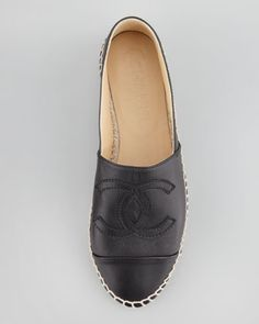 CHANEL Summertime CC Leather Espadrille Flat - Neiman Marcus