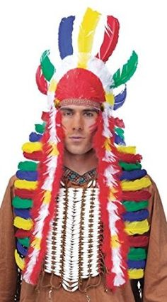 Unisex Native American Indian Maiden Pocahontas Wig Plaits Braid Feather Wigs