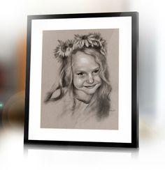 Custom Girl child hand drawn portrait from photography by Jacek Jaśkowiak PortraitsBuy