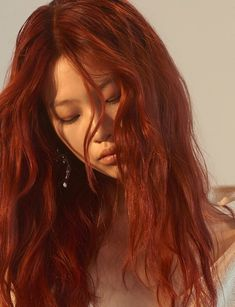long red hair and hairstyle with layers and beachy waves Red Hair asian red hair Asian Red Hair, Red Orange Hair, Red Hair Color, Orange Hair Colors, Red Streaks In Hair, Red Hair With Highlights, Hair Color Asian, Ginger Hair Color, Orange Orange