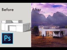 I will show you an architecture visualization using Photoshop. This photoshop rendering is a spe. Collage Architecture, Architecture Background, Architecture Sketchbook, Architecture Graphics, Architecture Visualization, Commercial Architecture, Architecture Student, Rendering Architecture, House Architecture