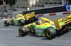 Riccardo Patrese in front of Michael Schumacher (Benetton-Ford B193B), 1993 Monaco GP, Monte Carlo