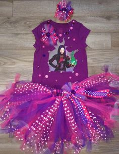 Disney inspired Descendants Mal OR Evie tutu set by PolkadotLillys Little Girl Tutu, Disney Decendants, Descendants Costumes, 10th Birthday, Happy Birthday, Bday Girl, Tutus For Girls, Disney Inspired, Birthday Shirts