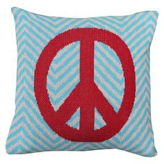 Eco-friendly pillow cover with a chevron motif and peace sign detail.  Product: Pillow coverConstruction Material: 80...