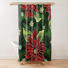 Floral Shower Curtains, Red Curtains, Green Christmas, Christmas Items, Buttonholes, Holiday Treats, Red Green, Colorful Backgrounds, Party Supplies