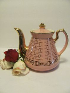 Hall China 'Philadelphia' style, Pink and Gold, Basket Weave Tea Pot, 6 cup, via Etsy.