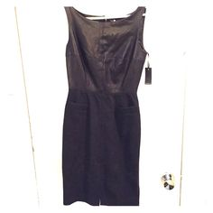 Emerson Fry 50s Leather Dress Gorgeous and sophisticated lambskin and wool dress from NYC designer Emerson Fry. Lambskin upper and wool lower, two small front pockets, front slit, and exposed zipper at the back. New with tags! Emerson Fry Dresses Midi