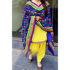 Sanjana Yellow Embroidered   Patyala Women