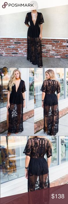 "🆕Sexy black lace maxi dress/romper ❤💋 This Black embroidered lace maxi dress w/solid romper lining is a must have! Perfect for brunching on a weekend or dinner dates! you will make a fashion statement & will be turning heads. Style it w/combat boots, sandals, or heels & a bralette!  Its your choice because you are fierce and can wear anything you want! Measurements: bust 16"" waist 13.5 hips 15"" length 60""  *Black *Maxi lace dress *Built in romper *100% polyester *Floral detail *Low v-neck…"