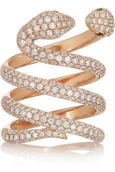 Snake 18-karat rose gold, diamond and garnet ring by Anita Ko