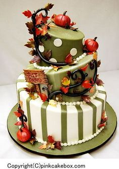 Instyle Wedding Magazine – Fall Wedding Cakes By Pink Cake Box Wedding Cakes & Bolo Halloween, Halloween Torte, Halloween Wedding Cakes, Classy Halloween, Happy Halloween, Gorgeous Cakes, Pretty Cakes, Cute Cakes, Amazing Cakes