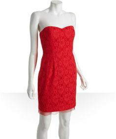 BCBG MAX AZRIA lipstick red cotton and lace strapless sweetheart 'Roselle' bustier dress