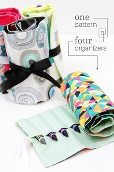 One pattern, four different organizers! Free pattern that uses fat quarters or scraps to see up a quick little rollup organizer.
