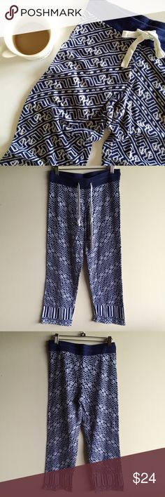 Anthropologie cropped lounge pants By Lilka, these are 100% spun rayon, so they feel like a finely knit sweater. So comfy! Navy blue and a very light gray print, drawstring waist. Great condition! Measure 15 inches across the waist with a a 9 1/2 inch rise. 26 inch inseam. Hand wash and flat dry. Anthropologie Pants Ankle & Cropped