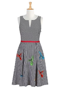 Hummingbird seersucker stripe dress from eShakti