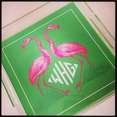 Monogrammed Lucite Trays. Love the Flamingos! | Nico and Lala