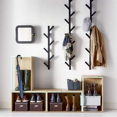 Stylish & practical entryway with Ikea 'Tjusig' coat racks & 'PS 2014' stackable boxes