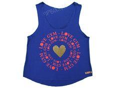 Regatas Femininas | Regata Cavada Curta Love Gym Azul  Acesse: http://www.spbolsas.com.br/atacado/ #Regatas #Femininas #Atacado