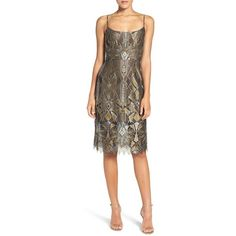 BCBGMAXAZRIA 'Alese' Metallic Lace Slipdress (1,680 SAR) ❤ liked on Polyvore featuring dresses, brown lace dress, slip dress, brown dress, metallic dress and empire waist cocktail dress