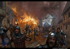 English troops fleeing from the gate of Orlean, Hundred Years War Fantasy Battle, Fantasy Weapons, Fantasy Warrior, Fantasy Rpg, Medieval Fantasy, Fantasy Artwork, Fantasy World, Medieval World, Fantasy Setting